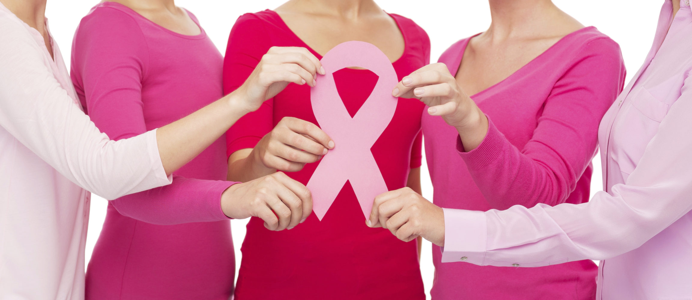 healthcare, people and medicine concept - close up of women in blank shirts with pink breast cancer awareness ribbon over white background